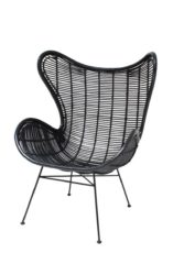 HK Living Egg chair rotan zwart